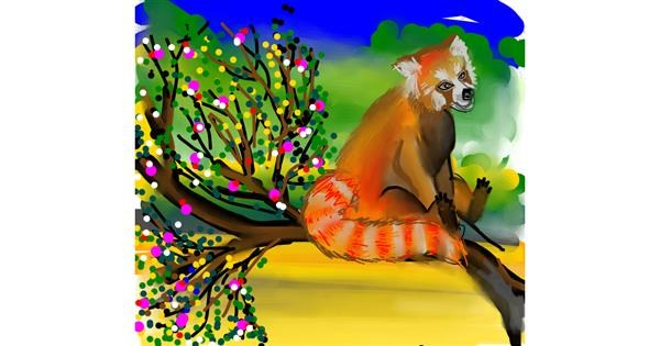 Red Panda drawing by Naaz
