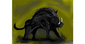 Drawing of Wild boar by ogie