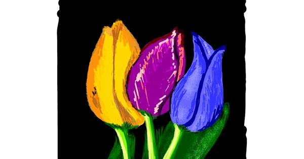 Tulips drawing by Geo-Pebbles