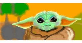 Baby Yoda drawing by Debidolittle