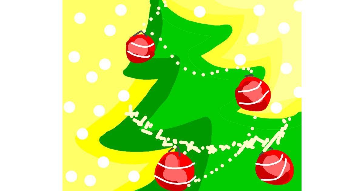 Christmas tree drawing by Miemisgek