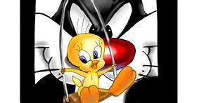 Drawing of Tweety Bird by RadiouChka