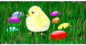 Easter chick drawing by PrettyPixels