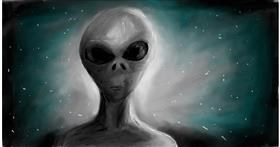 Drawing of Alien by Soaring Sunshine