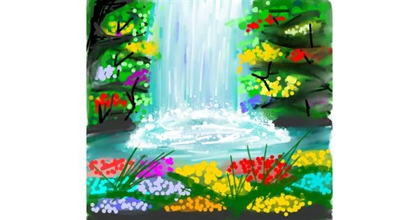waterfall drawing by Ankita Sharma