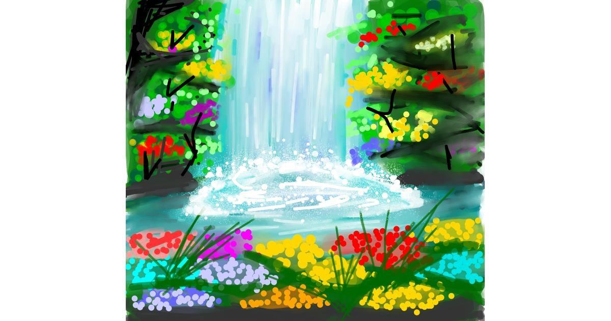 Waterfall drawing by Ankita Sharma