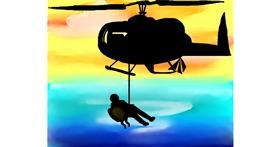 Helicopter drawing by Freny