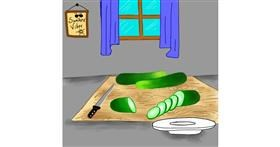 Drawing of Cucumber by Bishakha