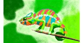 Chameleon drawing by Sam