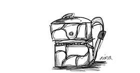 Backpack drawing by Nina