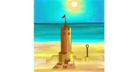Drawing of Sand castle by MJ