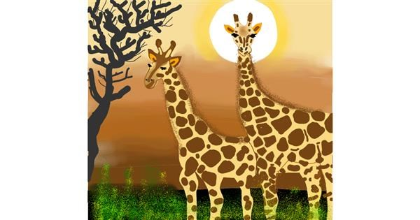Giraffe drawing by Namie