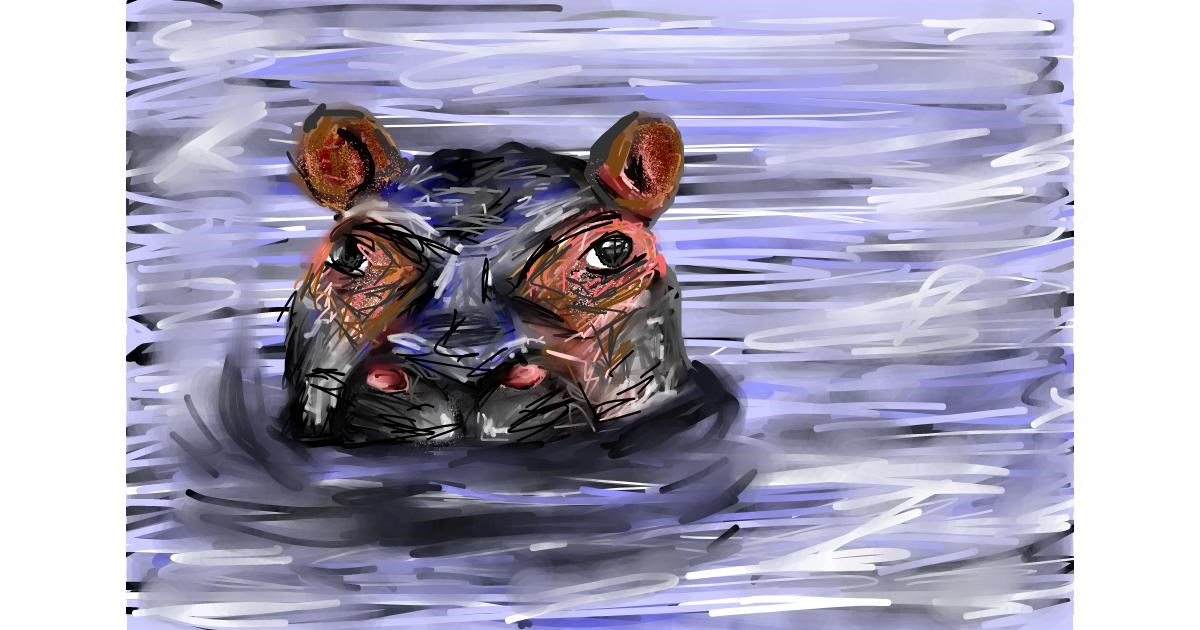 Hippo drawing by Soaring Sunshine