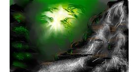 Drawing of Waterfall by Zara