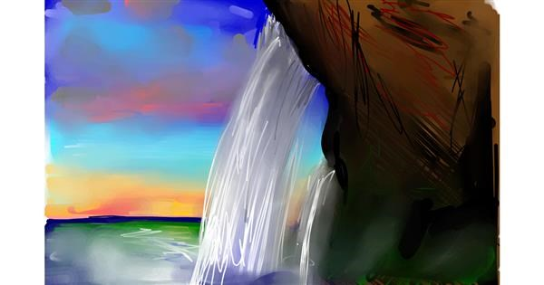 Waterfall drawing by Rose rocket