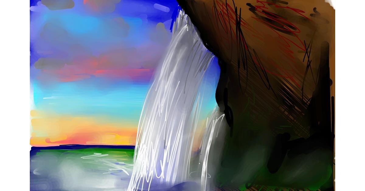 Waterfall drawing by Rose rocket