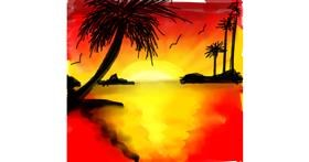 Drawing of Palm tree by Mou