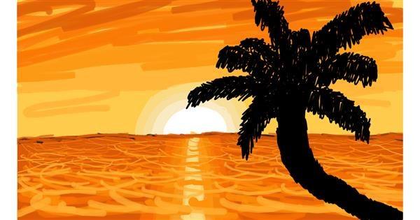 Palm tree drawing by Sam