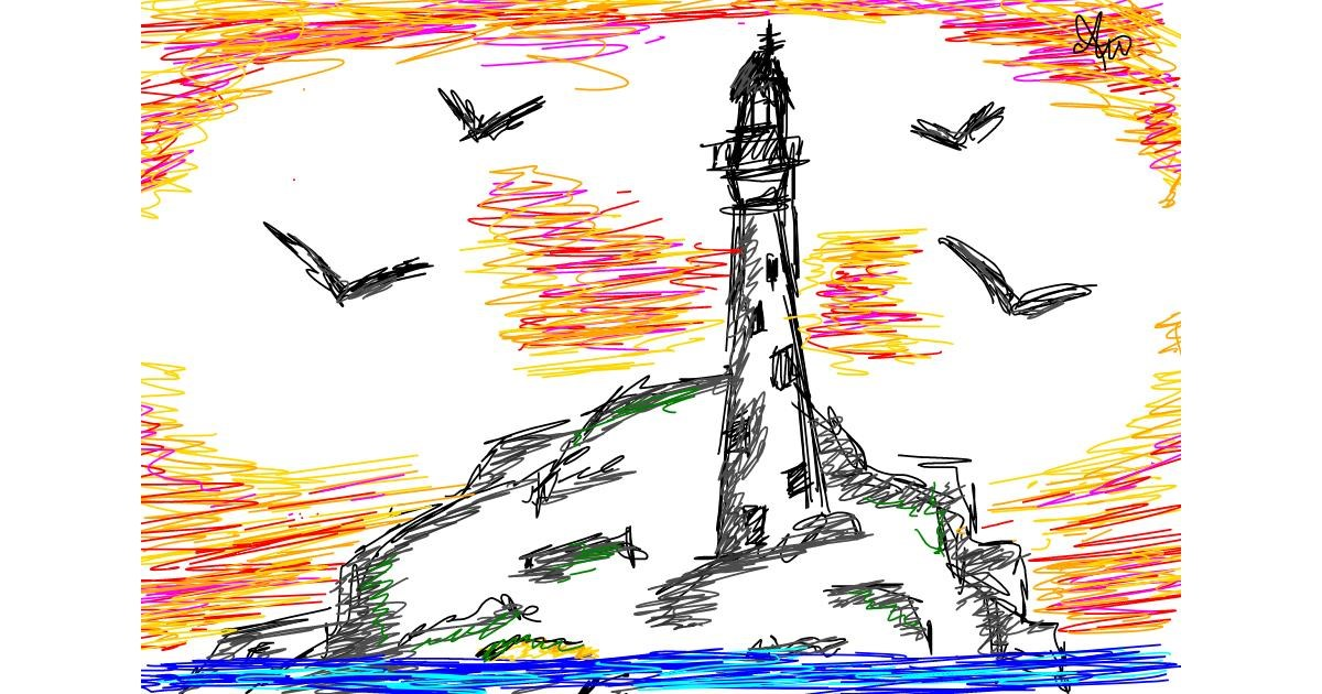 Drawing of Lighthouse by Hashbrown