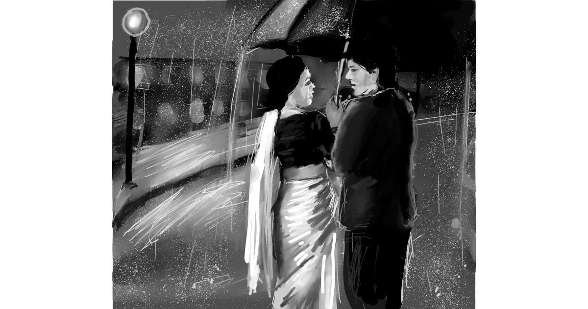 Umbrella drawing by Muni