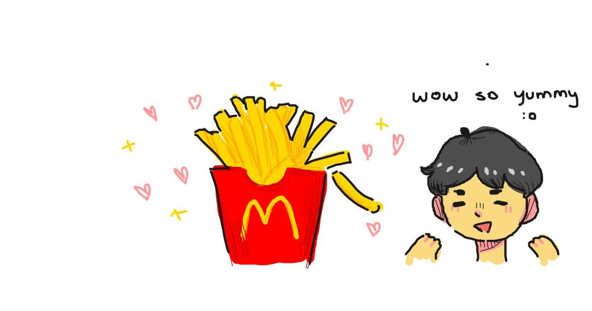 Drawing of French fries by what