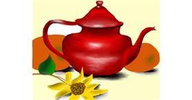 Teapot drawing by Mitzi