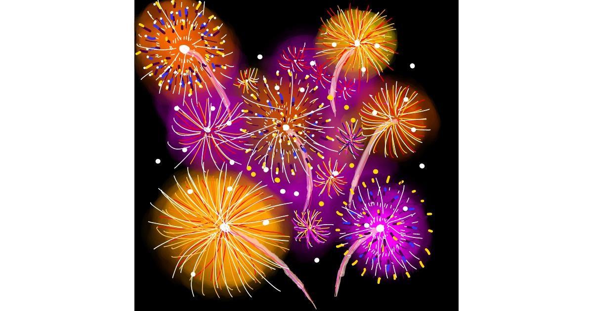 Fireworks drawing by Joze
