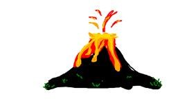 Volcano drawing by yi