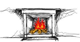 Drawing of Fireplace by Eeezzz