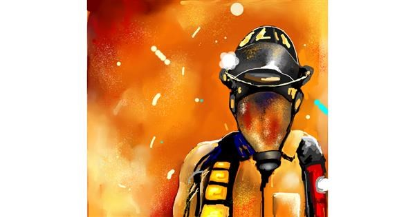 Firefighter drawing by Elliev