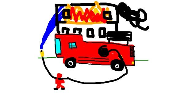 Firefighter drawing by Pine Tree
