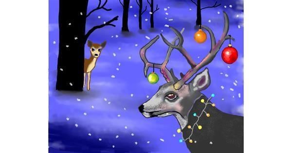 Reindeer drawing by Cec
