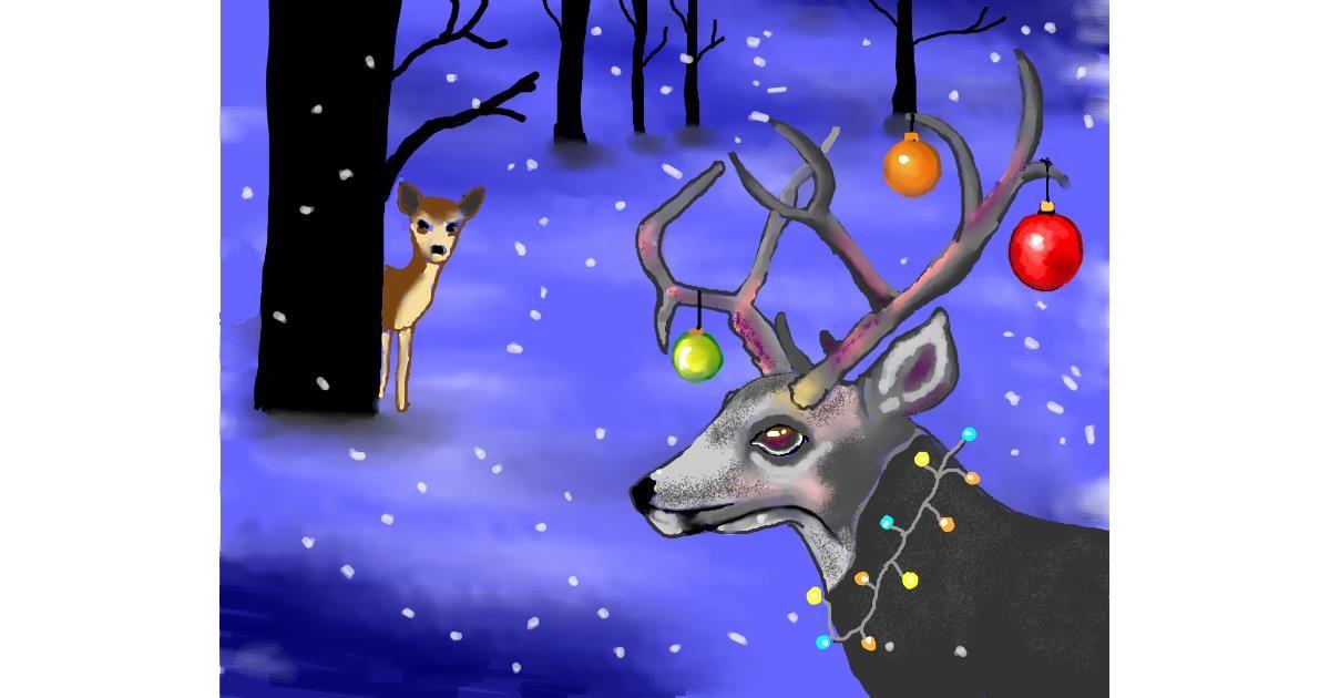 Drawing of Reindeer by Cec