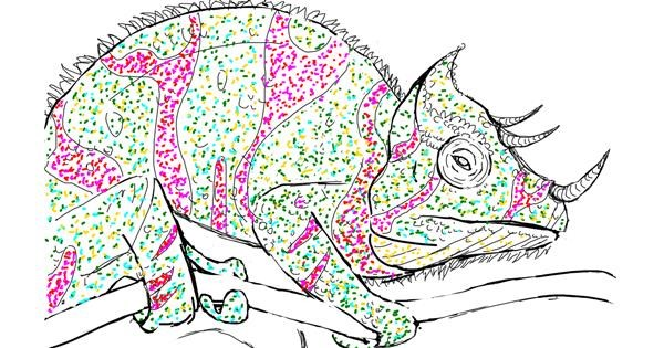 Chameleon drawing by Dez