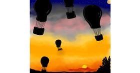 Drawing of Hot air balloon by Shalinee