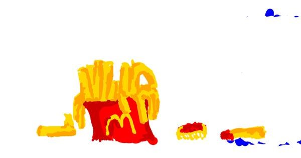French fries drawing by Brown Woodcock