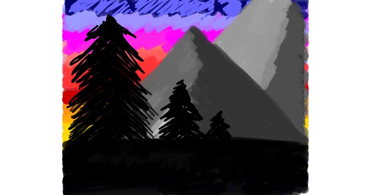 Drawing of Mountain by Ashley