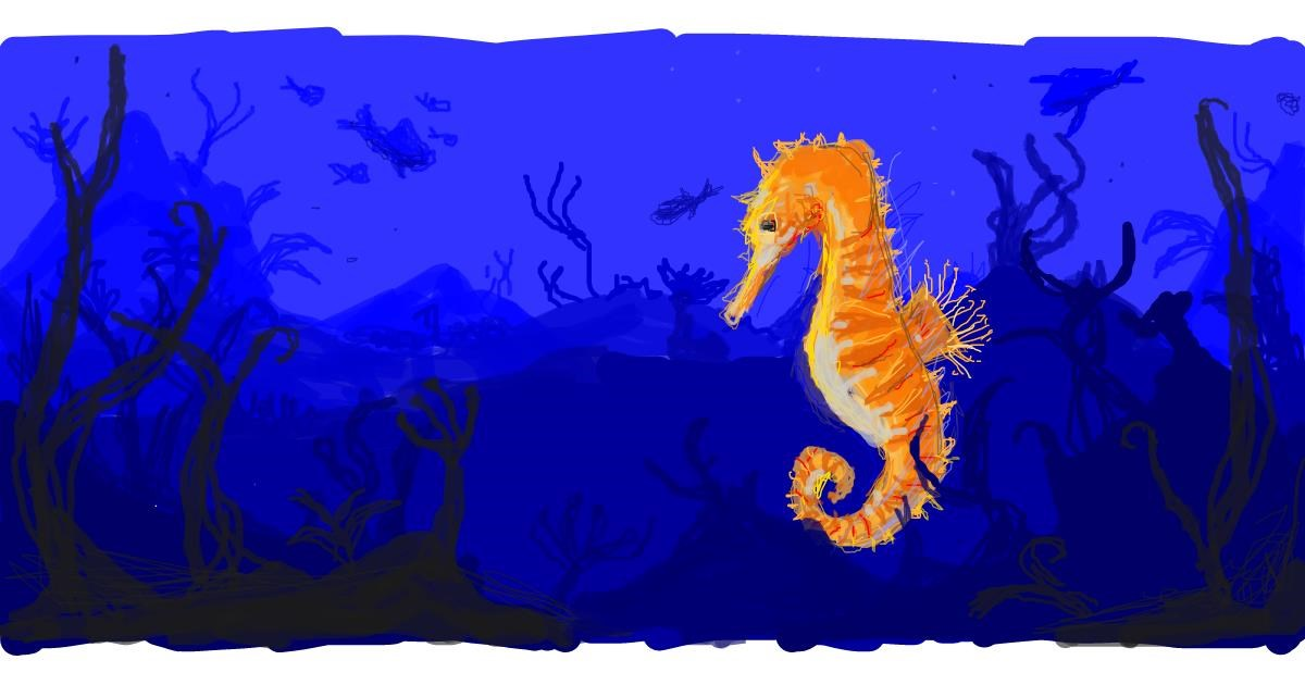 Seahorse drawing by Paranoia