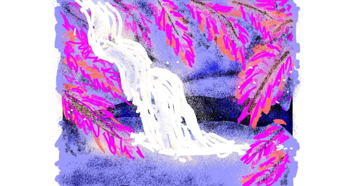 Waterfall drawing by Cherri