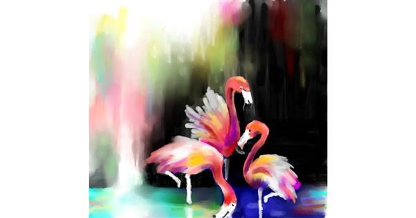 Flamingo drawing by mr yj