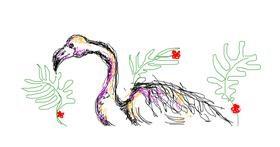 Flamingo drawing by hahah