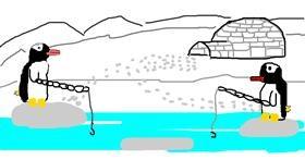 Penguin drawing by QUEEEEEEN