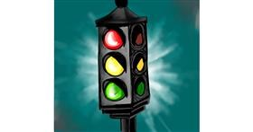 Drawing of Traffic light by Ellie Bean