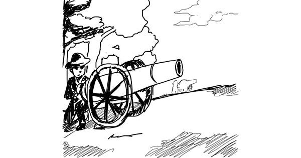 Cannon drawing by Anna