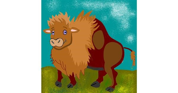 Bison drawing by Namie