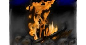 Drawing of Campfire by Jan