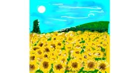 Drawing of Sunflower by Ni Na