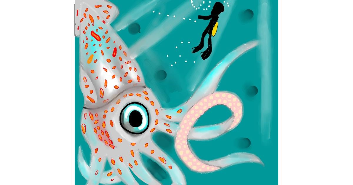 Squid drawing by Gzell