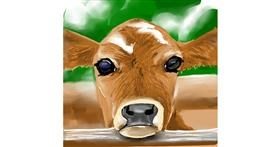 Cow drawing by Rose rocket
