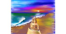 Drawing of Sand castle by Cec